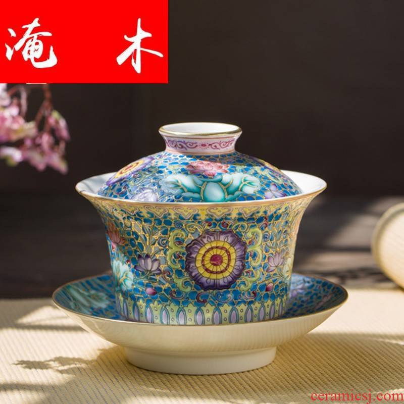 Submerged wood capacity up enamel see colour tureen jingdezhen ceramic manual three bowl kung fu tea cups