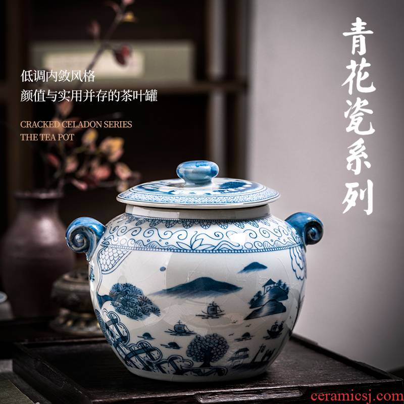 Jingdezhen ceramic tea pot seal pot of new Chinese style household she prevention of blue and white porcelain storage moistureproof furnishing articles large