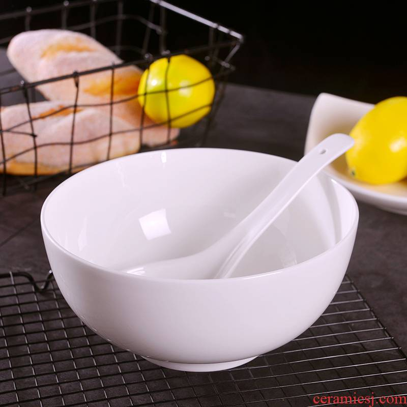 Under the household of Chinese style glaze color white ipads China big bowl of jingdezhen 8 inches large ceramic bowl can match the big spoon