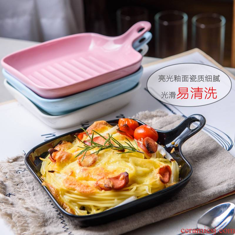 Ins Nordic creative ceramics with deep dish plate oven baked FanPan household food dish tray is western food web celebrity