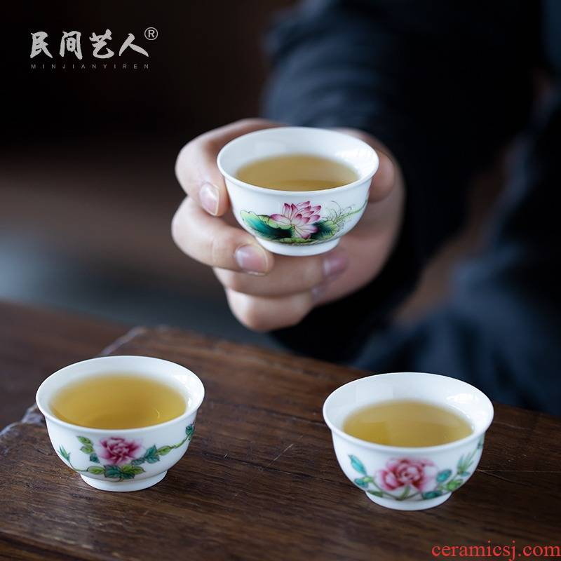 Jingdezhen powder enamel handpainted kung fu tea cups sample tea cup single ceramic cup wen xiang small white porcelain cup