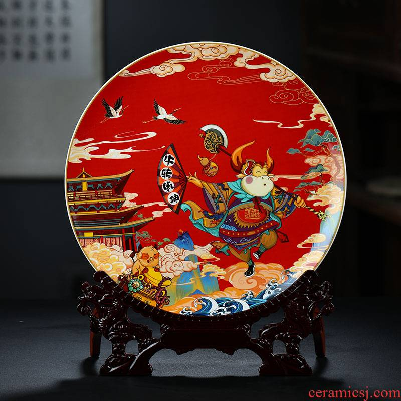 Jingdezhen ceramics NiuTu wring Chinese hang dish sat dish wine porch sitting room place decoration plate
