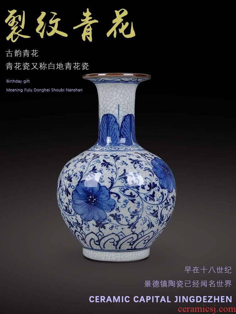 Jingdezhen ceramics hand - made guanyao blue and white porcelain flower rich ancient frame under the glaze color antique crafts home decorations