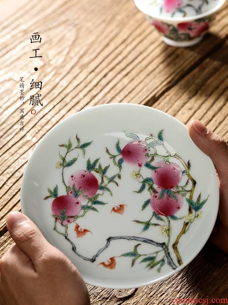 Jingdezhen checking tea tray was dry mercifully machine hand draw nine peach kunfu tea accessories ceramic tea pot of 12 water home