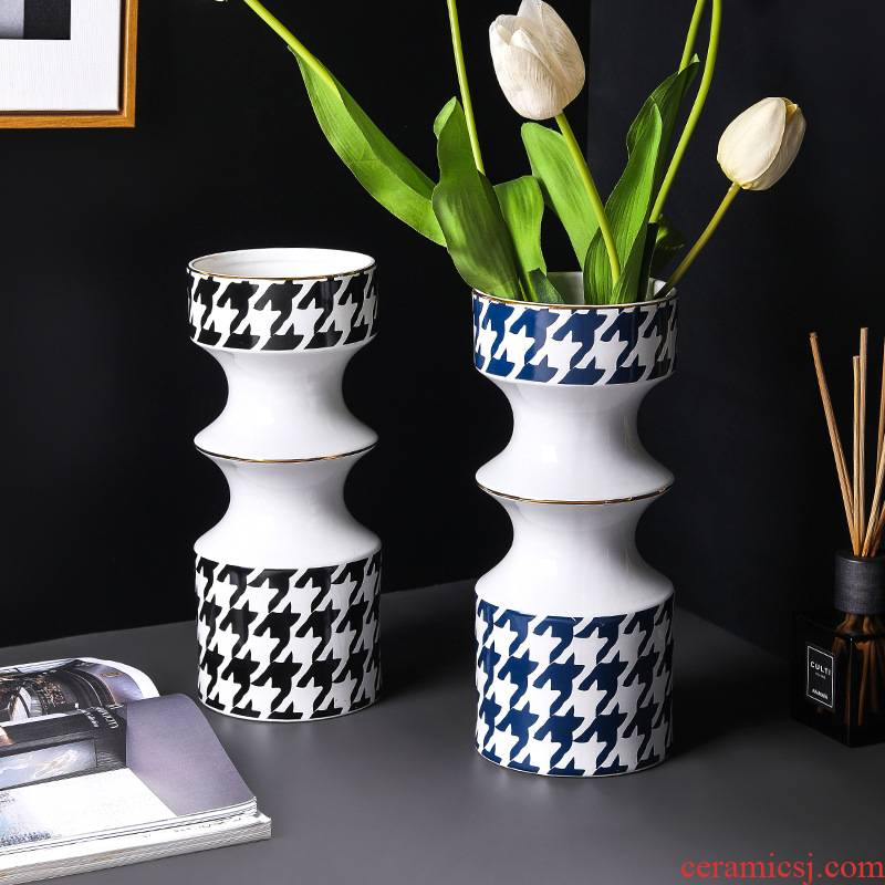 Light see colour ceramic vase Nordic I and contracted household living room key-2 luxury grid example room flower arranging flowers, furnishing articles