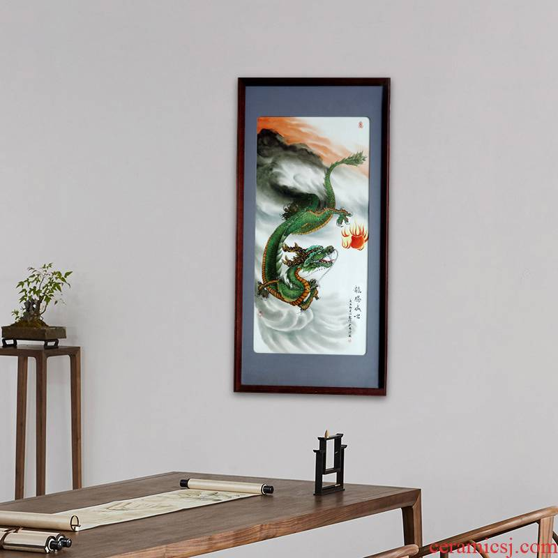 Jingdezhen ceramic porcelain plate painting painting longteng prosperous time sitting room adornment study wall hangs a picture usual collection