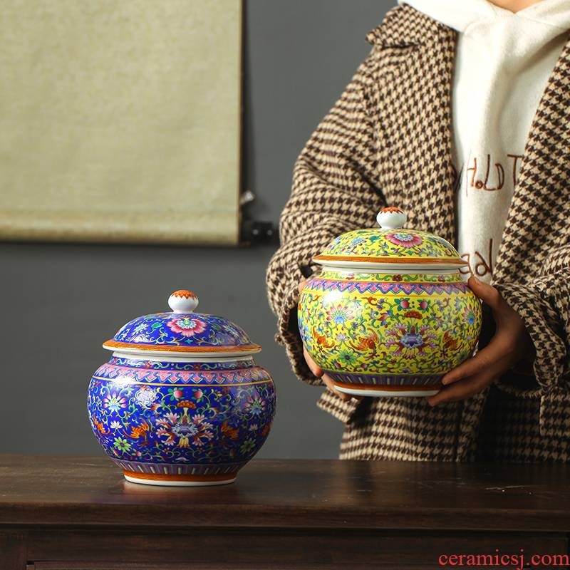 Jingdezhen ceramic hand - made pastel caddy fixings ceramic jar with cover household receives hand - made of pastel caddy fixings
