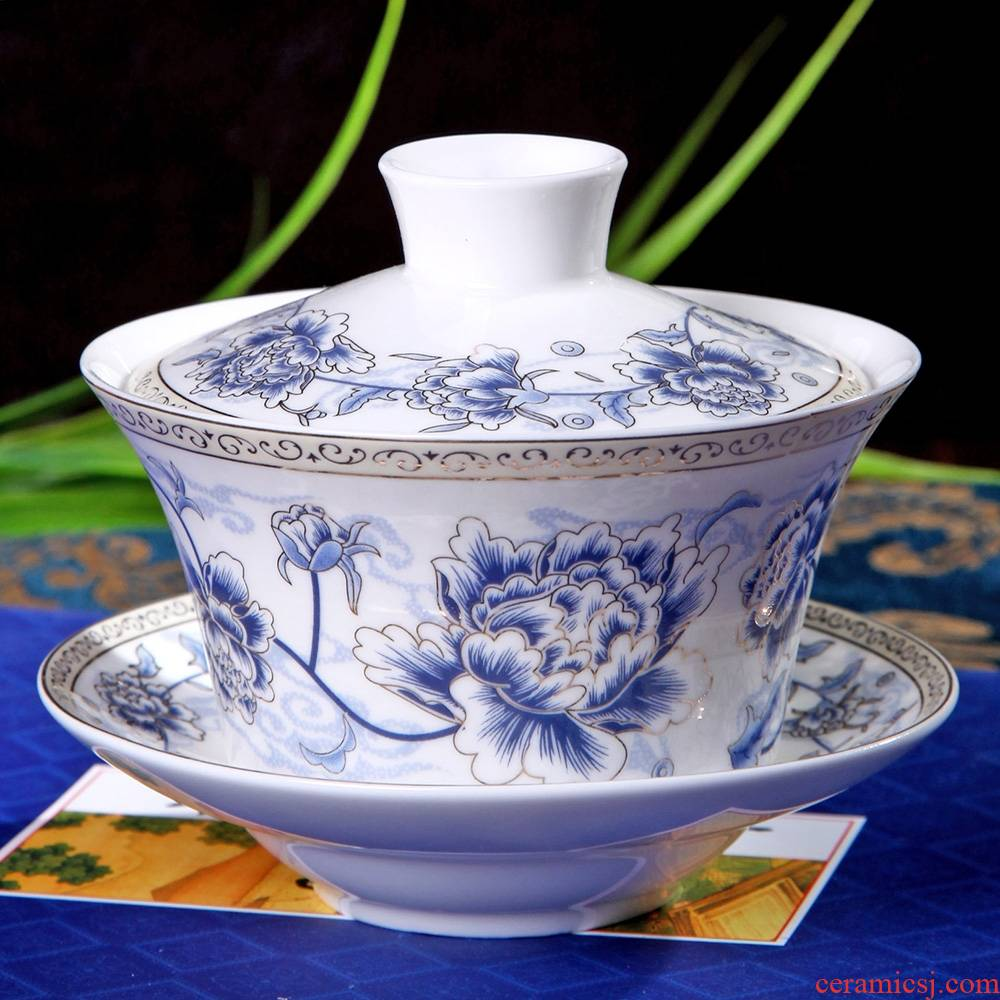 Qiao mu large blue and white only three bowls tureen birthday present worship sweet tea bowls and cups porcelain cover cup cup three mercifully 20