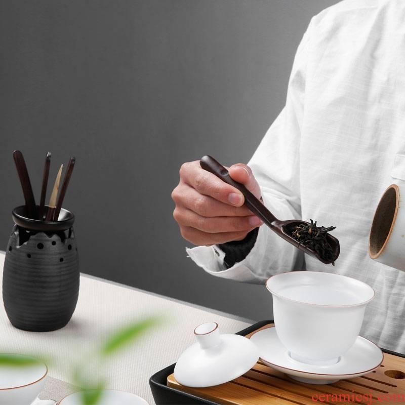Qiao mu tea set tea six gentleman ebony wood coarse pottery kung fu tea tea tea tray accessories