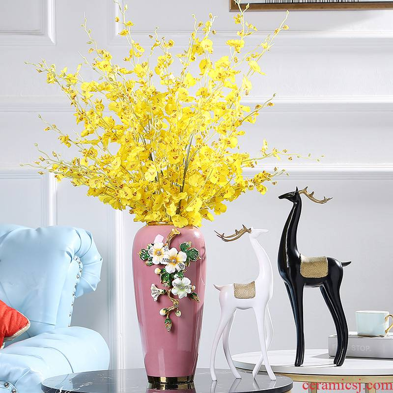 Jingdezhen ceramics American sitting room porch light colored enamel key-2 luxury vase example room decoration home decoration