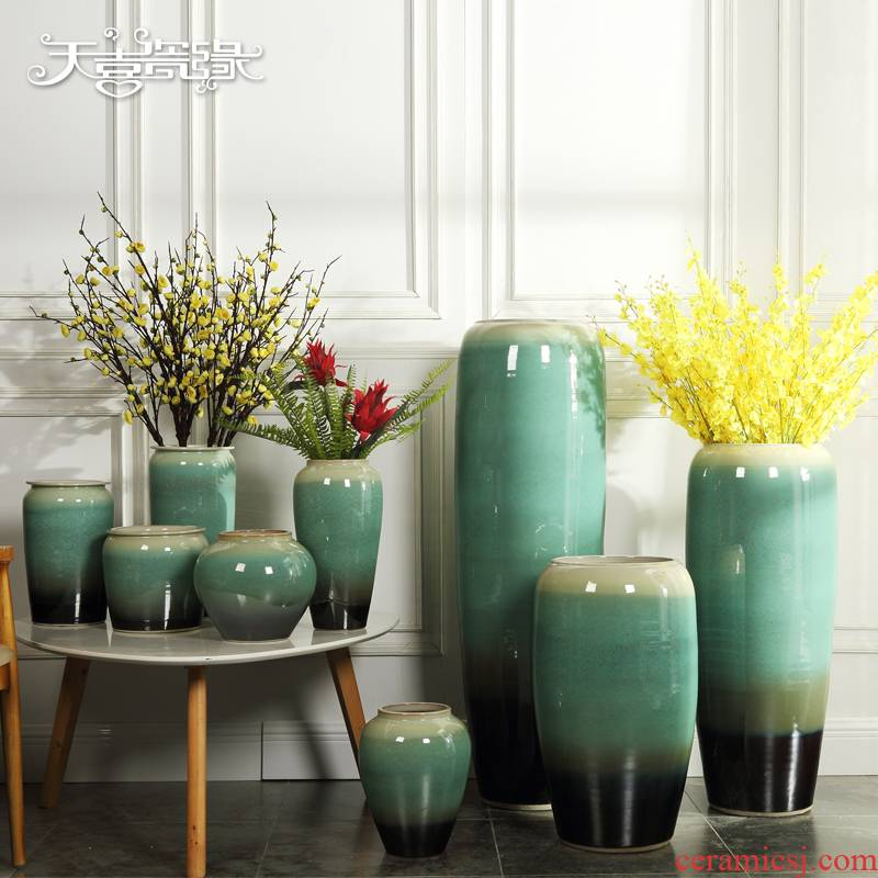 Jingdezhen ceramic of large modern European sitting room porch vase dried flower of new Chinese style villa soft decoration