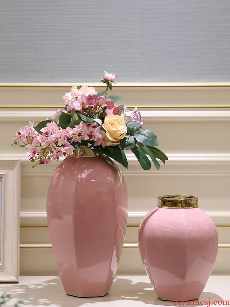 Nordic light key-2 luxury ceramic vases, flower implement I and contracted household living room table hydroponic flower arrangement ornaments furnishing articles