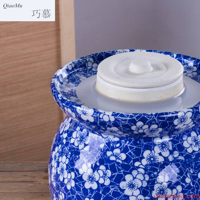 Qiao mu jingdezhen ceramic pickle jar sealed storage cylinder manually salted duck egg jar pickles pickle jar