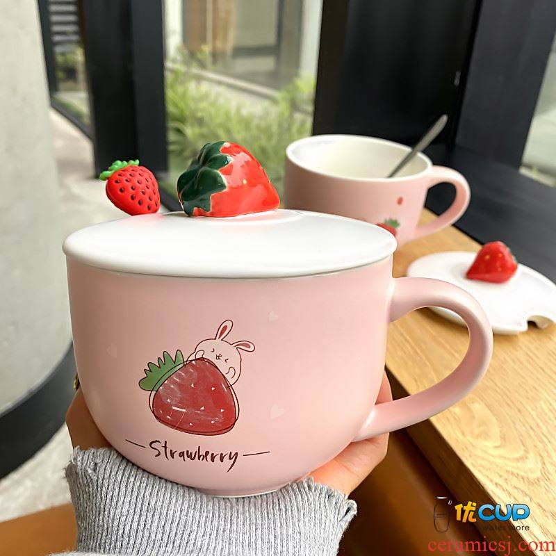 Young girl heart strawberry mark cup high - capacity wide expressions using ceramic cup of milk for breakfast cereal cup with cover spoon girl home