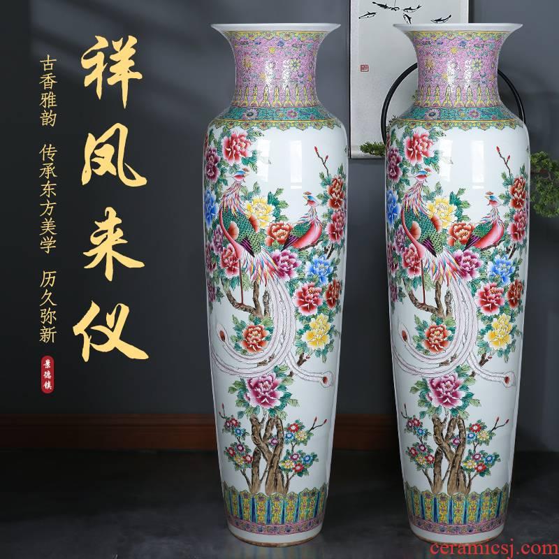 Jingdezhen ceramic hand - made famille rose porcelain landing big vase auspicious phoenix to meter villa hotel furnishing articles large living room