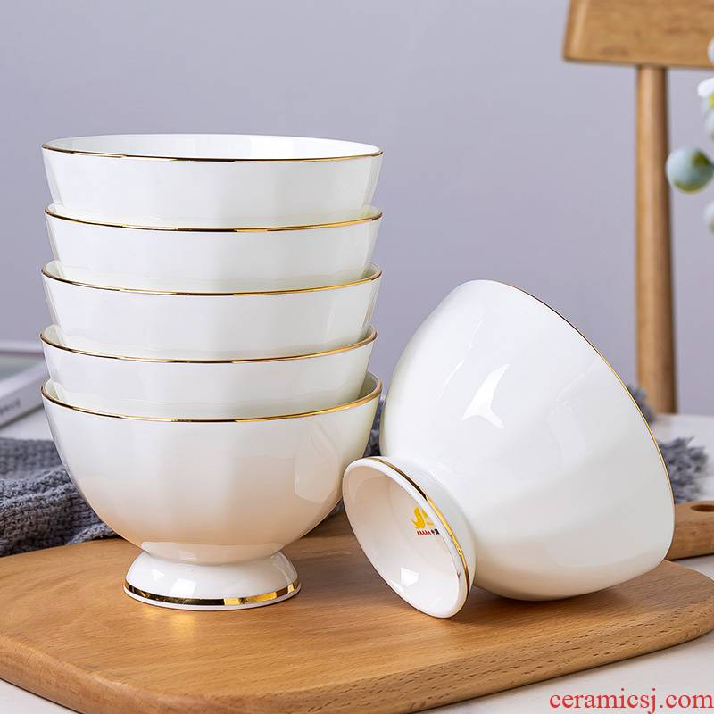 Jingdezhen up phnom penh ipads porcelain tableware contracted style ceramic bowls of tall foot gionee household rainbow such as bowl bowl to eat rice bowls