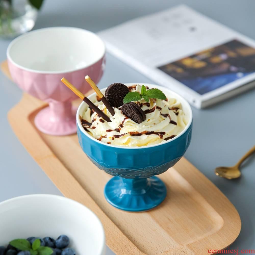 Qiao mu CDW ins summer ice cream dessert, ice cream cups fruit bowl of ice cream cup ceramics high bowl of W - 8