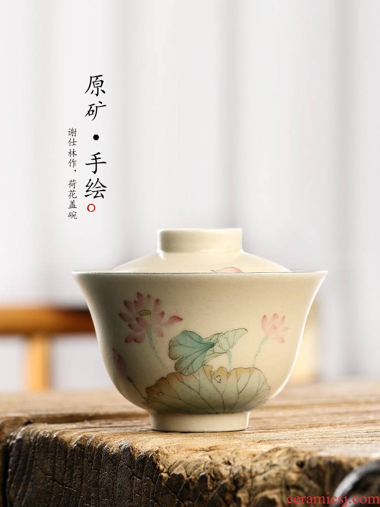 Jingdezhen hand - made tureen tea cups to use lotus pure manual color glaze kung fu tea set a single tea exchanger with the ceramics