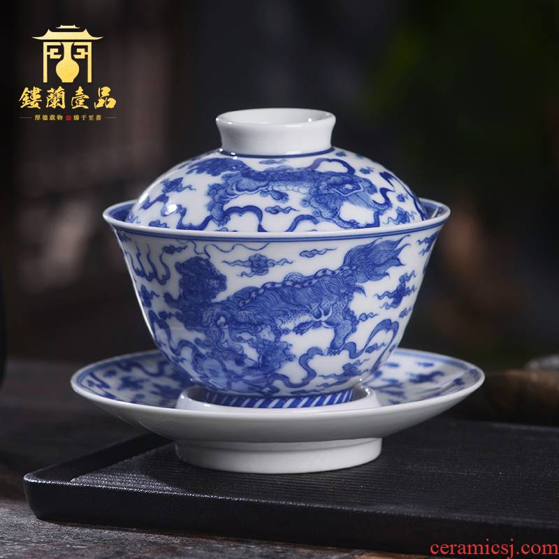 Arborist benevolence only blue and white, all the best three tureen jingdezhen ceramic hand - made kung fu tea bowl with cover a single