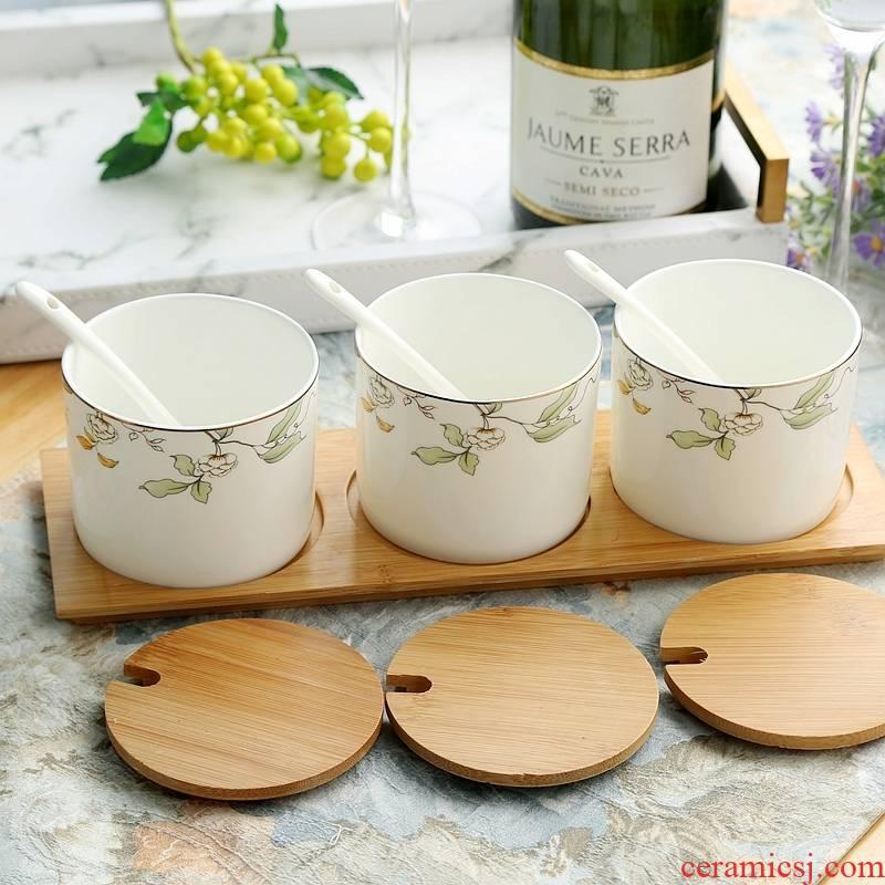 Qiao mu ipads porcelain tableware suit kitchen ware ceramic seasoning sauce pot seasoning sauce seasoning cylinder, cylinder boxes