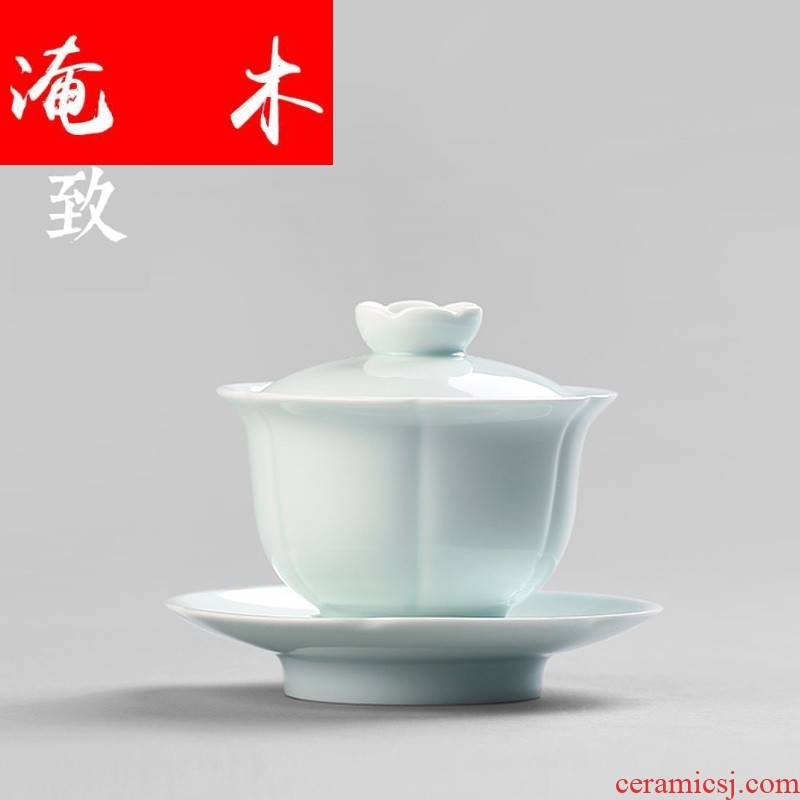 Submerged wood shadow celadon tureen large tea cups ceramic three of the bowl bowl set manually kung fu tea cup