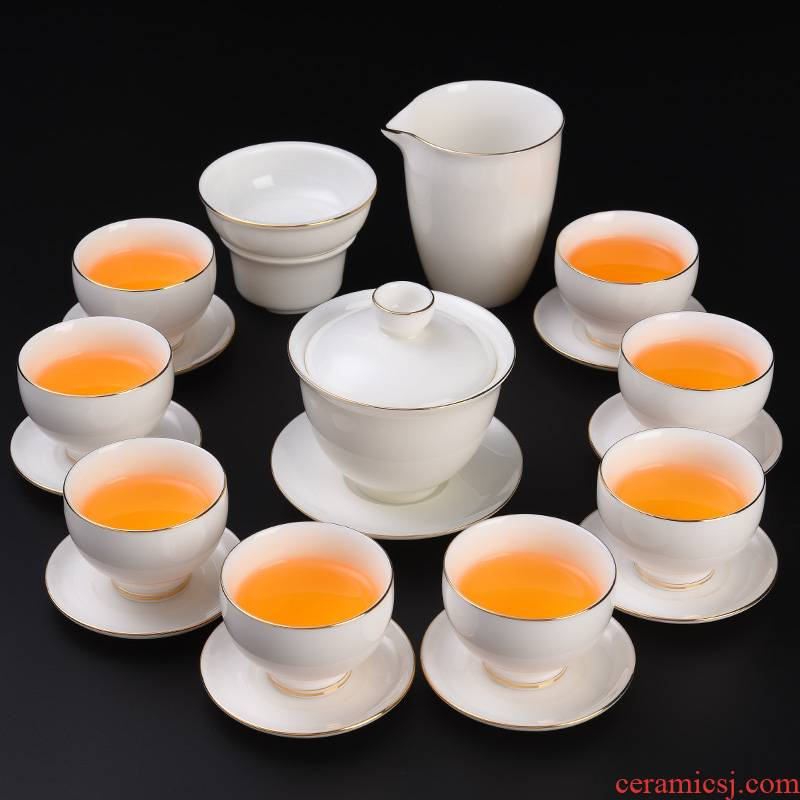 High - grade dehua white porcelain suet jade suit light key-2 luxury home sitting room office tea tureen kung fu tea cups