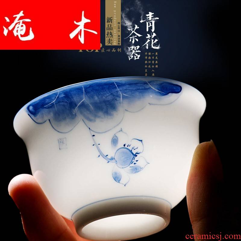 Submerged wood hand - made white porcelain tureen blue - and - white bowl three to ceramic cup kung fu large cup of household mercifully thin body