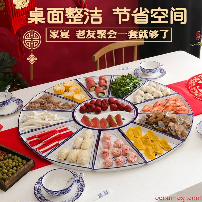 Suit the new hot pot dish square platter tableware portfolio spell plate plate household new ceramic round the table