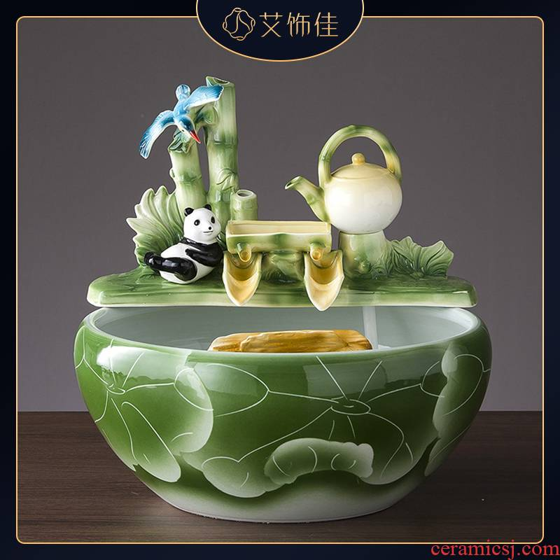 Jingdezhen ceramics aquarium water fountain household rockery fountain TV ark, sitting room office furnishing articles