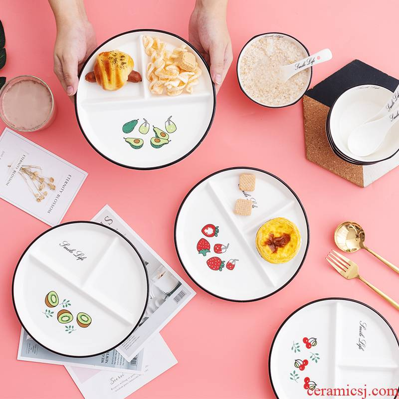 Nordic home one breakfast food dish weight plate lovely meal plate ceramic three separate plate