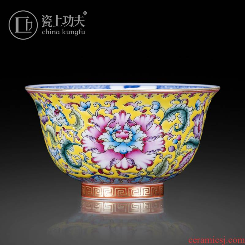 Jingdezhen ceramic checking hand - made within the outer colored enamel porcelain masters cup kung fu tea tea sample tea cup
