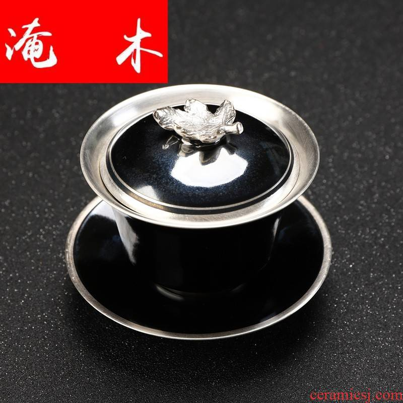 Flooded MuKang le silver clasp porcelain 999 sterling silver coppering. As silver kung fu tea set all cups temmoku glazed pottery tureen three bowl mercifully