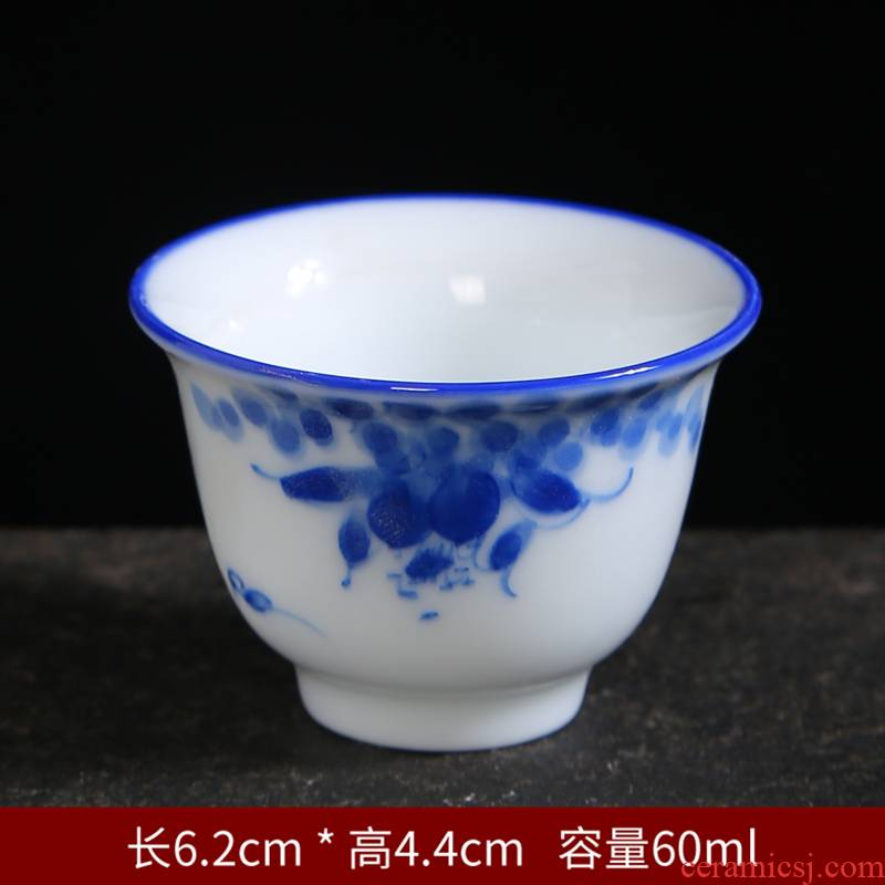 Hand made blue and white porcelain teacup master ceramic cups of tea light cup sample tea cup kung fu tea set small individual cup single CPU