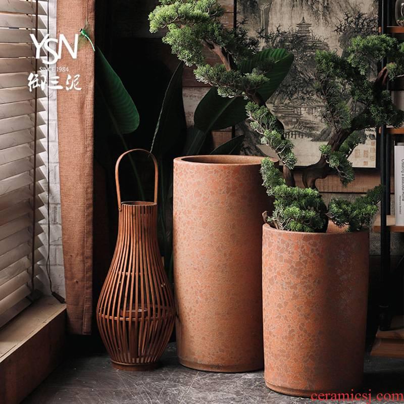 Royal three heavy mud coarse pottery zen ceramic plant furnishing articles flowerpot vase sitting room green plant flower bed modern decoration