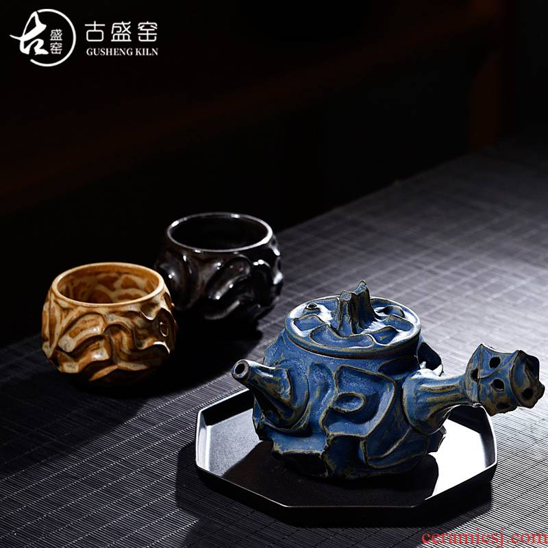 Ancient sheng ceramic up new iron pot Chen Weichun convex stage name the home side the pot a pot of two glass ball hole, single pot of red glaze