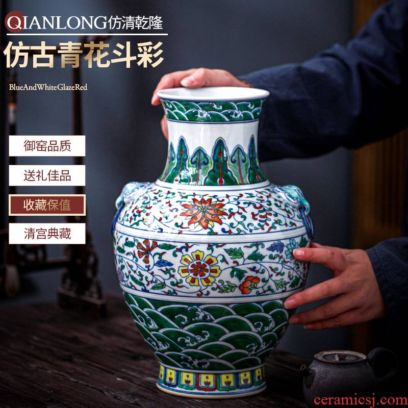 Jingdezhen ceramic vase furnishing articles antique Chinese blue and white color bucket flower arranging lucky bamboo rich ancient frame sitting room adornment