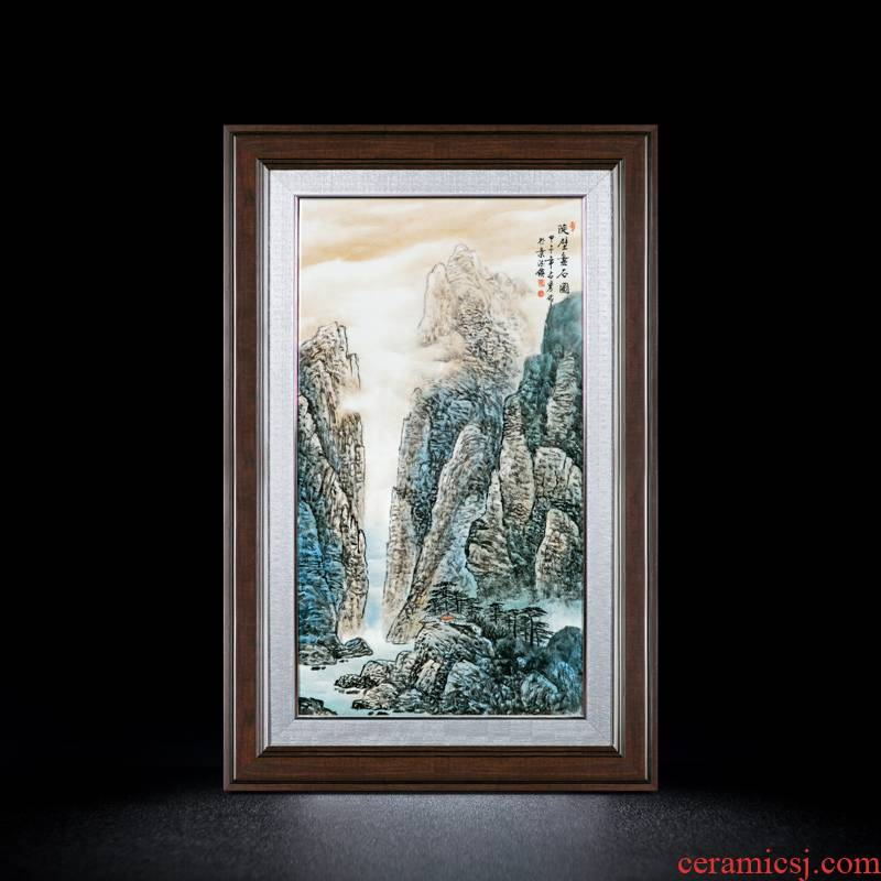 Jingdezhen manual coloured drawing or pattern porcelain plate painting Chinese real wood adornment landscape painting the living room sofa setting wall hangs a picture