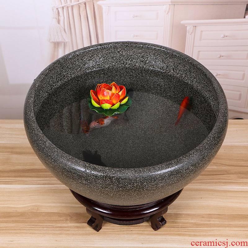 Jingdezhen ceramic tank koi fish basin bowl lotus lotus lotus tortoise cylinder sitting room feng shui goldfish bowl