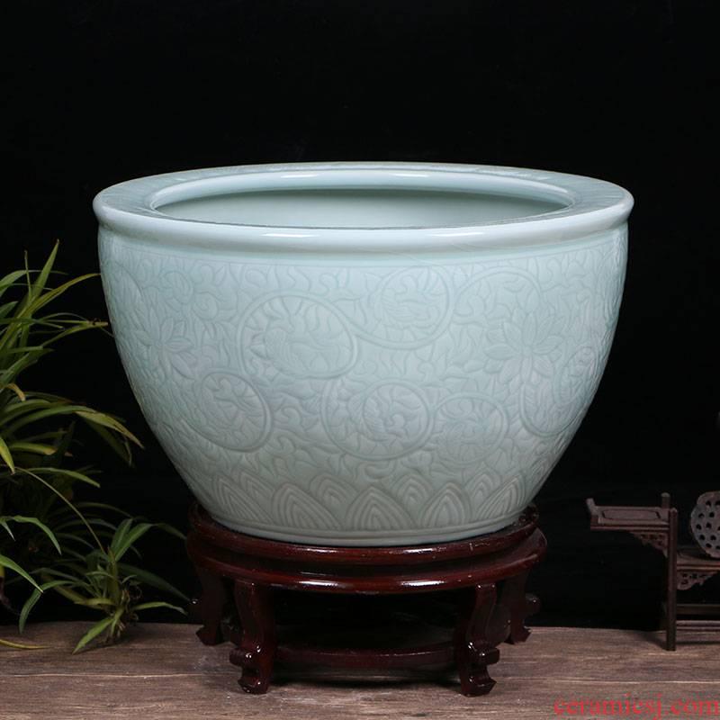Jingdezhen ceramic aquarium restoring ancient ways is archaize turtle cylinder basin of water lily lotus goldfish bowl lotus cylinder extra large