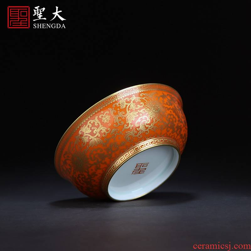 Holy big ceramic bowl with hand - made gold around coral red branch treasure grain green bowl is all hand jingdezhen bowls
