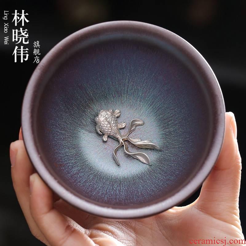 Discus gold temmoku built iron lamp cup tire ceramics kung fu tea set manually set silver obsidian become masters cup of tea