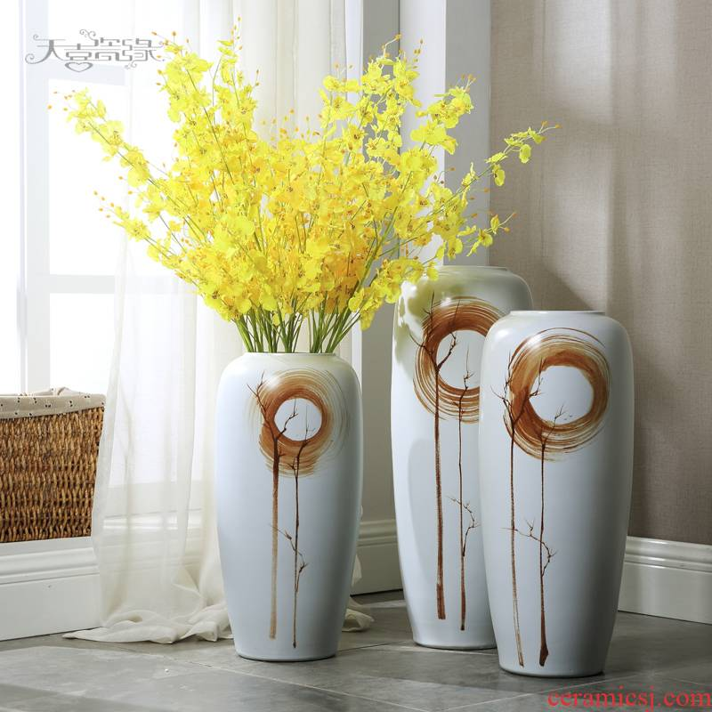 Jingdezhen of large vases, flower arranging new Chinese style living room TV cabinet between example home decoration ceramic furnishing articles