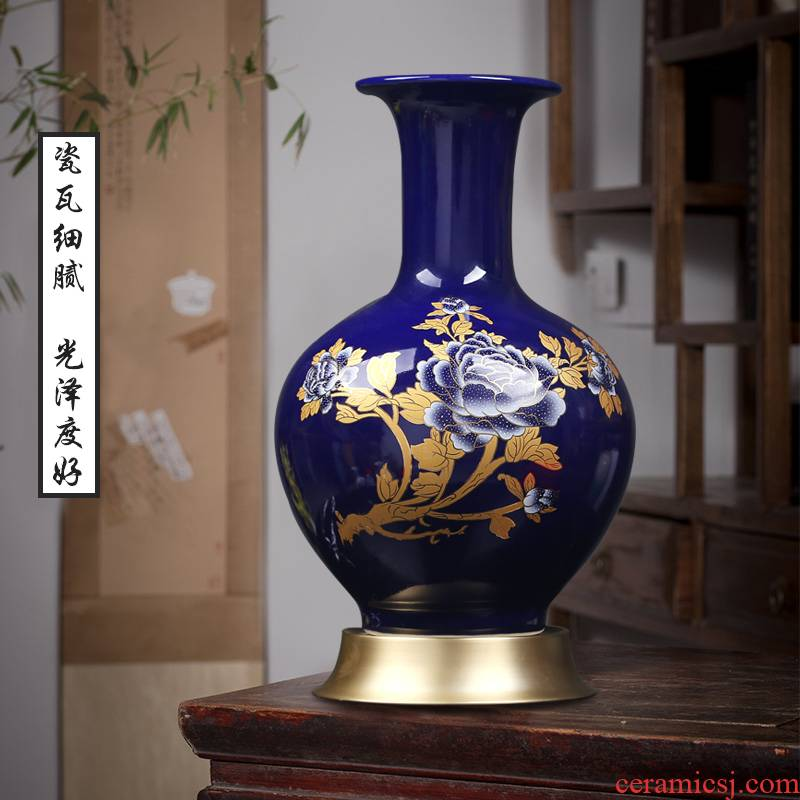 New Chinese style household, sitting room porch kale jingdezhen ceramics vase peony design furnishing articles I and contracted