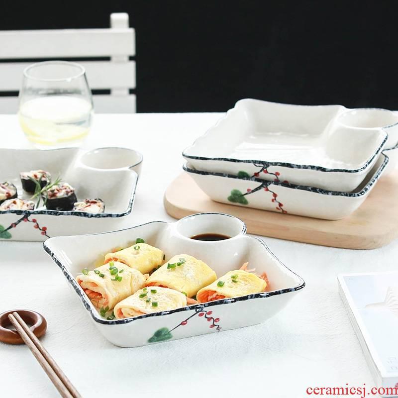 Qiao mu four dumplings plate 】 household vinegar dish creative Japanese rectangle ceramic tableware dishes dumplings