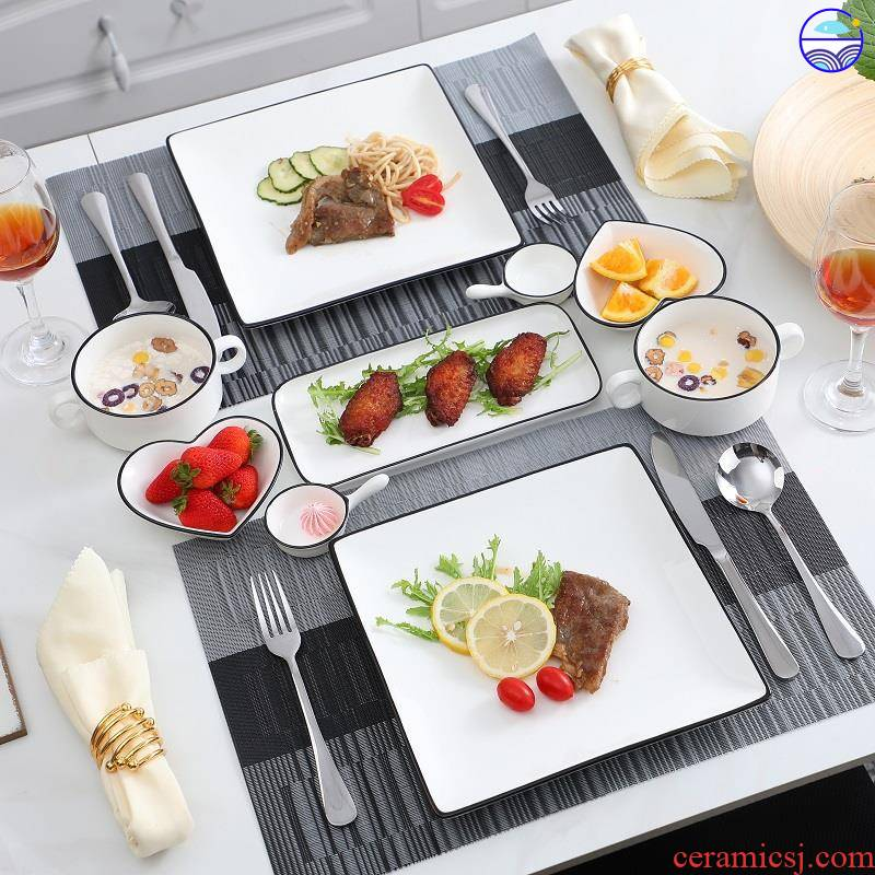 Eat western - style food tableware steak knife and fork dish suit European ceramics steak lovers home dinner plate full