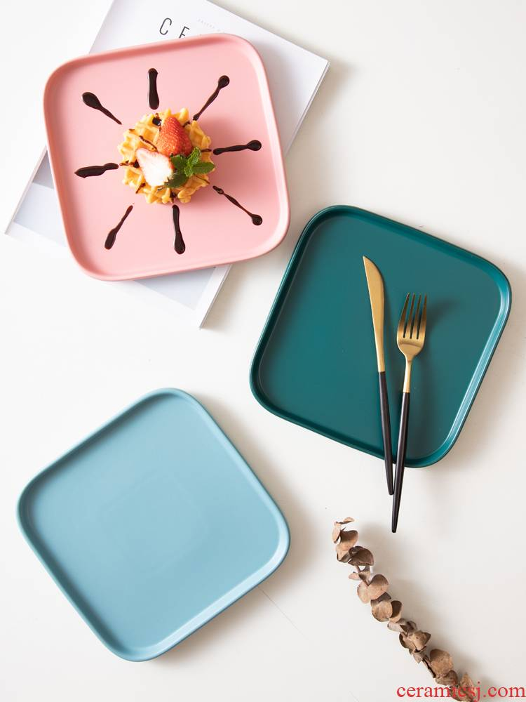 Dish creative ins wind network red Nordic square plate, ceramic plate salad western food steak Dish plate of household