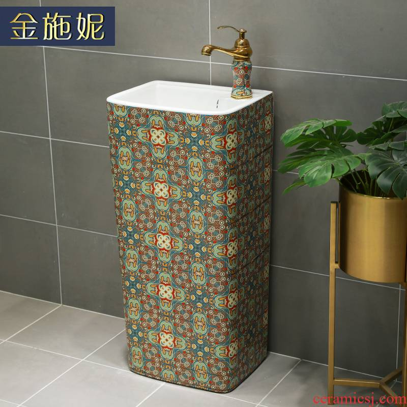 European ceramic column basin vertical integrated art pillar lavabo floor toilet lavatory sink