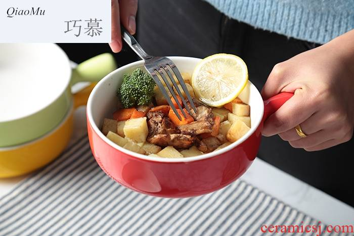 Qiao mu ceramic cheese paella breakfast bowl, lovely tableware large bowl restaurant hotel handle handle mercifully rainbow such use couples