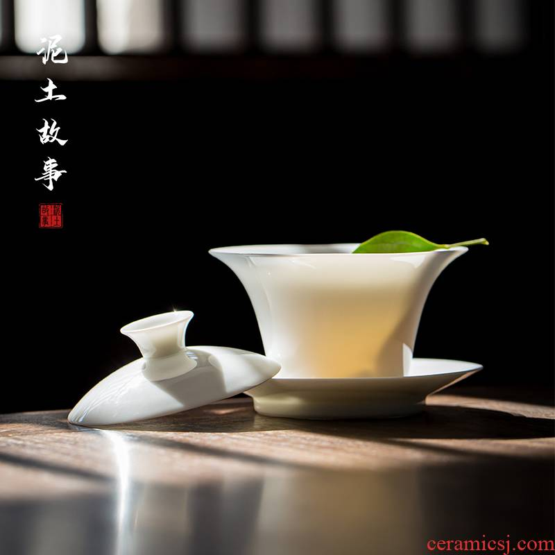 Jingdezhen manual sweet white ceramic thin tire, white porcelain in Chinese water chestnut tea tureen kunfu tea tea set