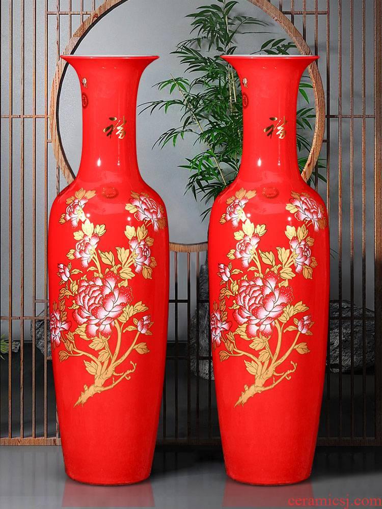 New Chinese style red China jingdezhen ceramics vase landing extra large sitting room porch place hotel